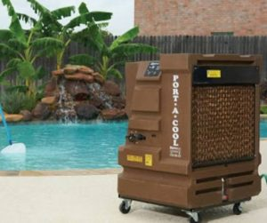 Mobile evaporative terrace outdoor cooler Port-A-Cool Cyclone 2000